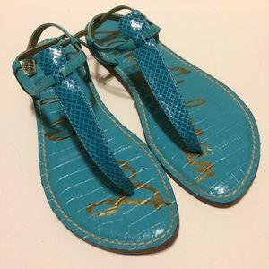 Sam Edelman Gigi T-Strap Sandal Turquoise Blue 9M